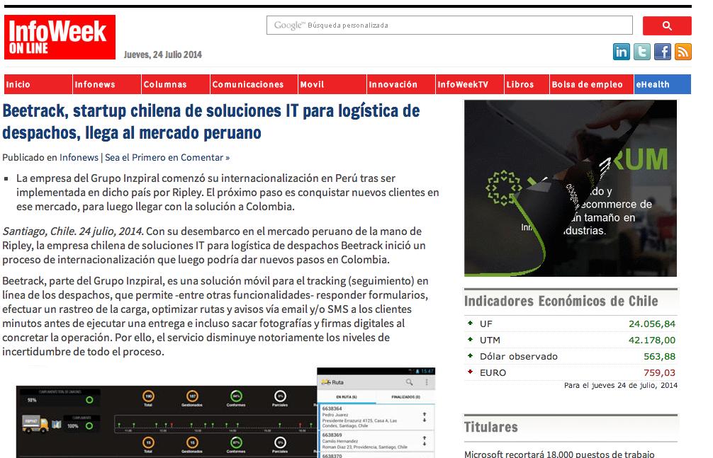 Beetrack Sale a la Conquista de la Logistica en Latino America