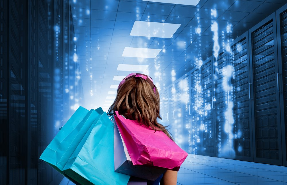 Girl with shopping bags looking at falling matrix in data center
